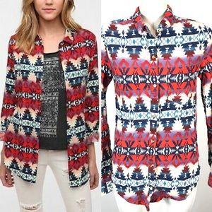 BDG UO Aztec Print Button Front Flannel Shirt